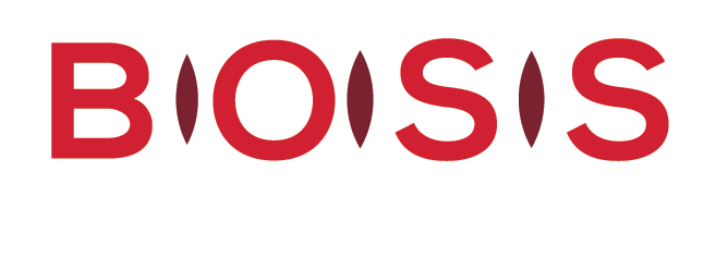 BOSS logo reversed (red letters on white circles). Text underneath reads: Building Organizational and Sector Sustainability.""